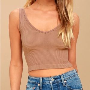 Free People Rib Nude Crop Tank Top 💫
